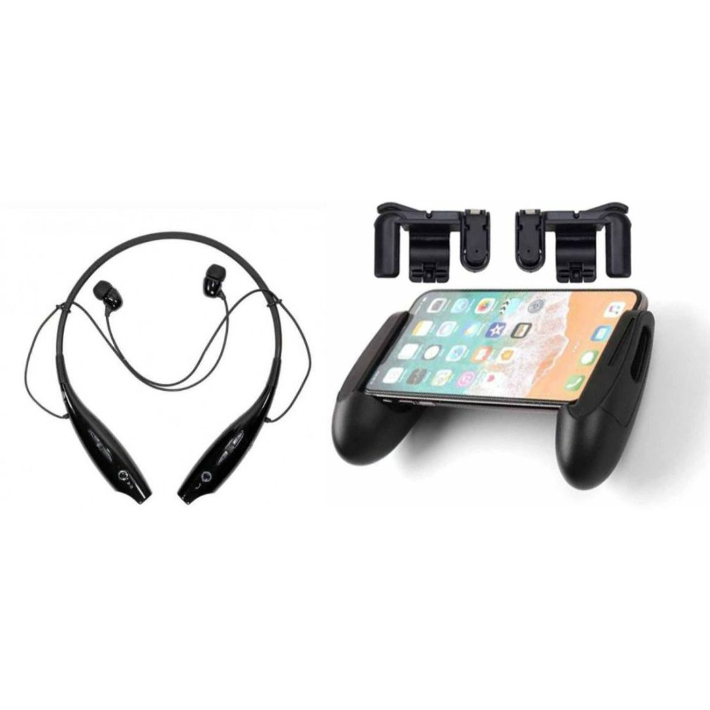 HBS 730 bluetooth headset and PUBG Gaming Acessory Kit Neckband bluetooth headset | Stereo Music Earphone Bluetooth Headset with Mic