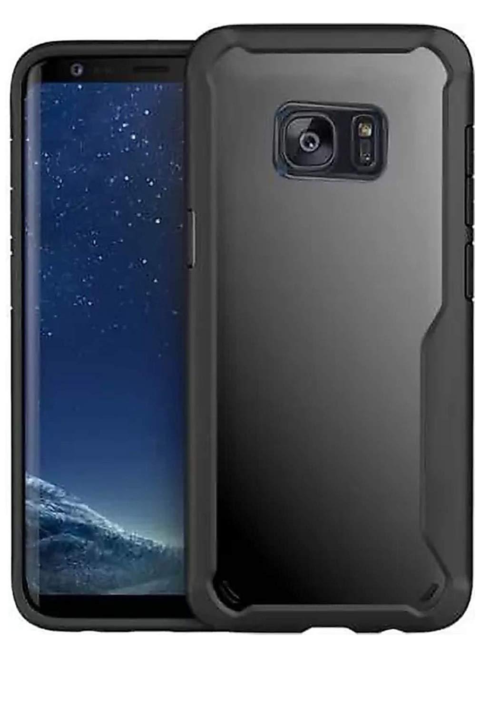 Techgear Back Cover for Samsung Galaxy S7 Edge  Deep Soft Black, Grip Case