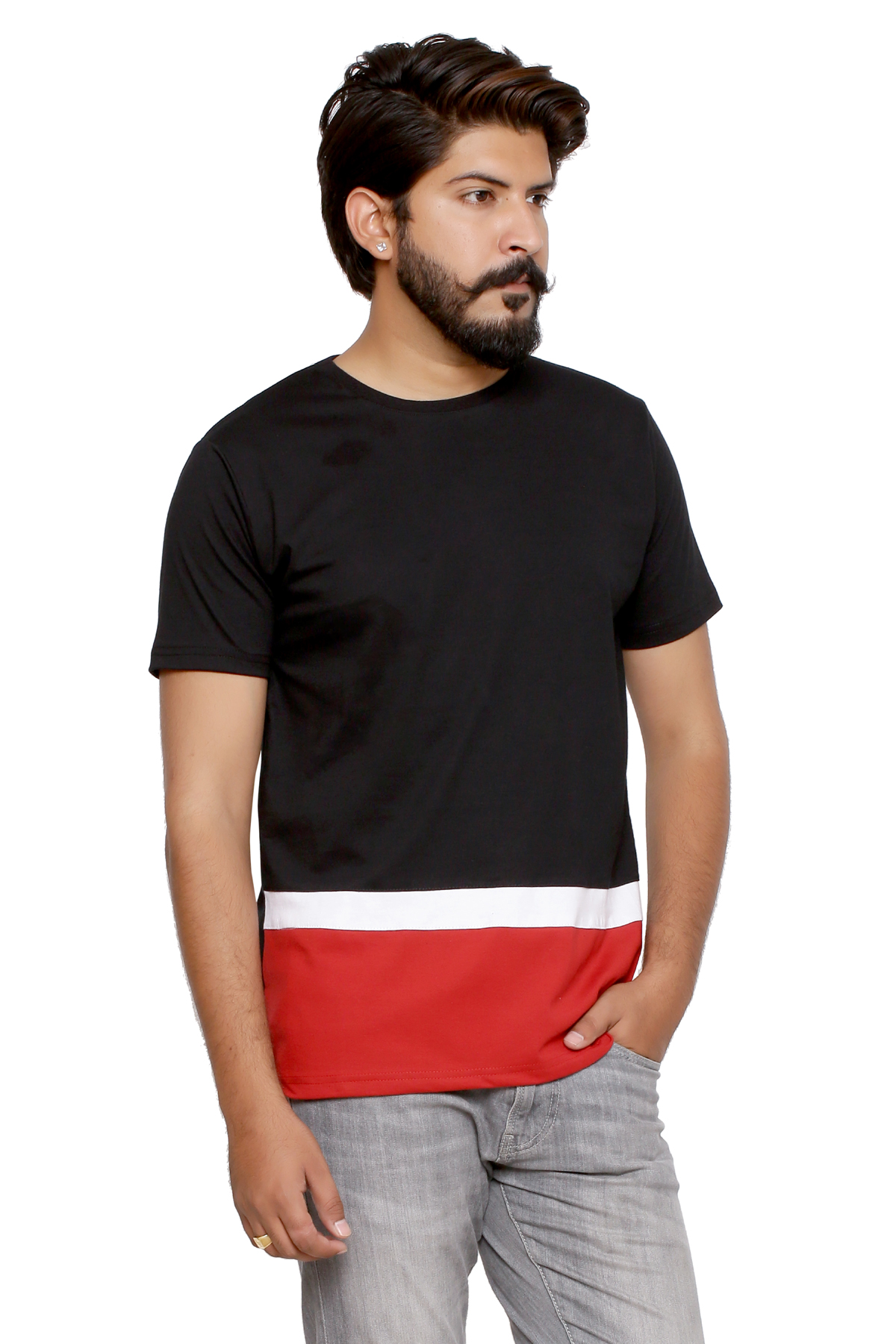 WYC Men Solid White,Black   Red ColorBlocked Round Neck T shirt