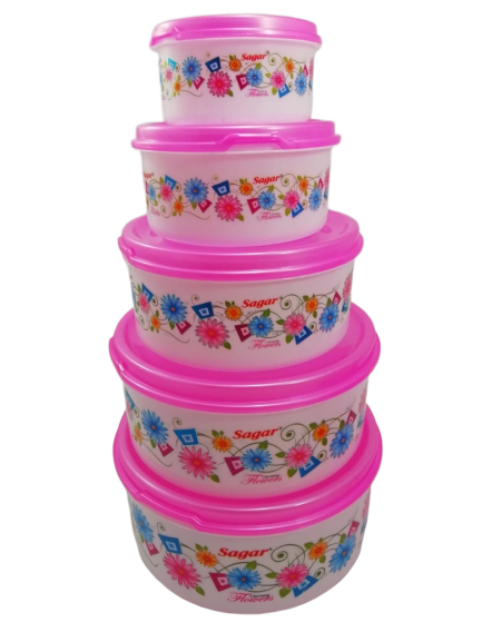 Plastic Food Storage Containers Set of 5 PCS  2500 ml, 1800 ml, 1000 ml, 500 ml, 250ml , Pink
