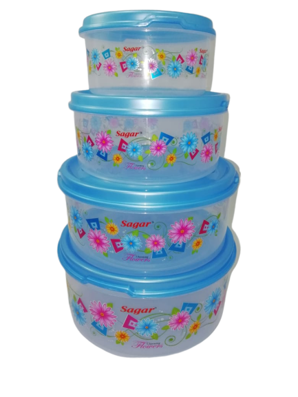 Plastic Food Storage Containers Set of 4PCS  2500 ml, 1800 ml, 1000 ml, 500 ml , Blue