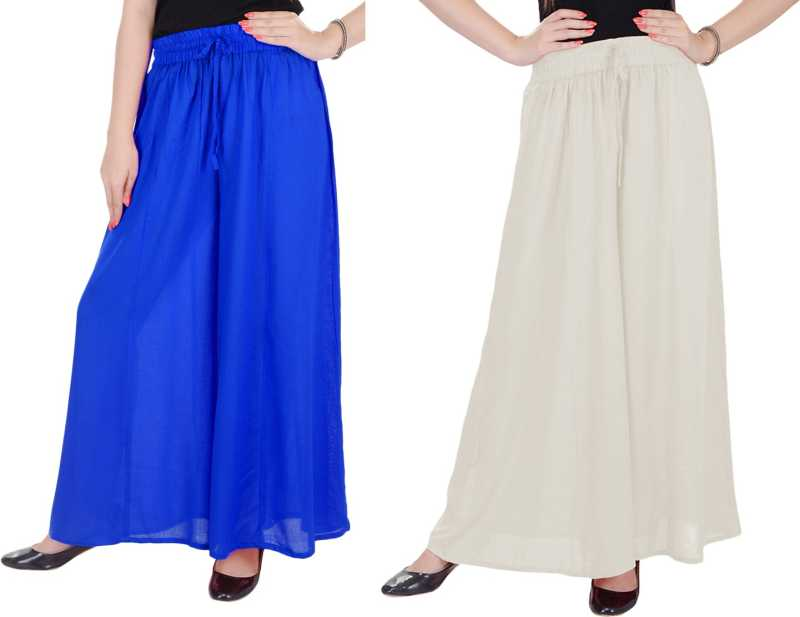 Relaxed Women blue and white palazzo pant or Trousers