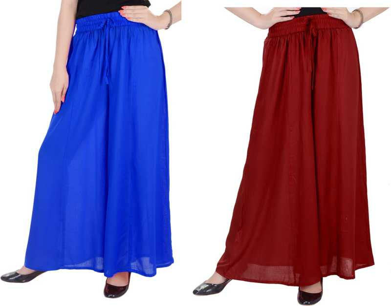 Relaxed Women maroon blue palazzo pant or Trousers