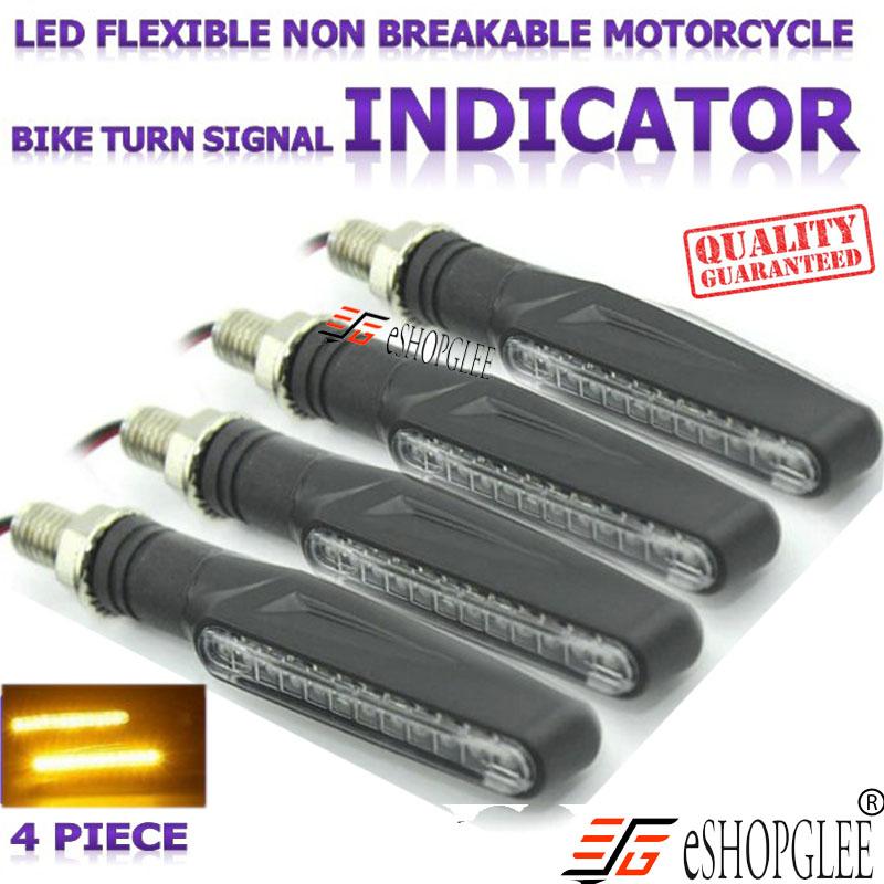 Eshopglee Bike / Motorcycle KTM Style Sleek Amber / Side / Front / Rear LED Indicator Light 4 PCS
