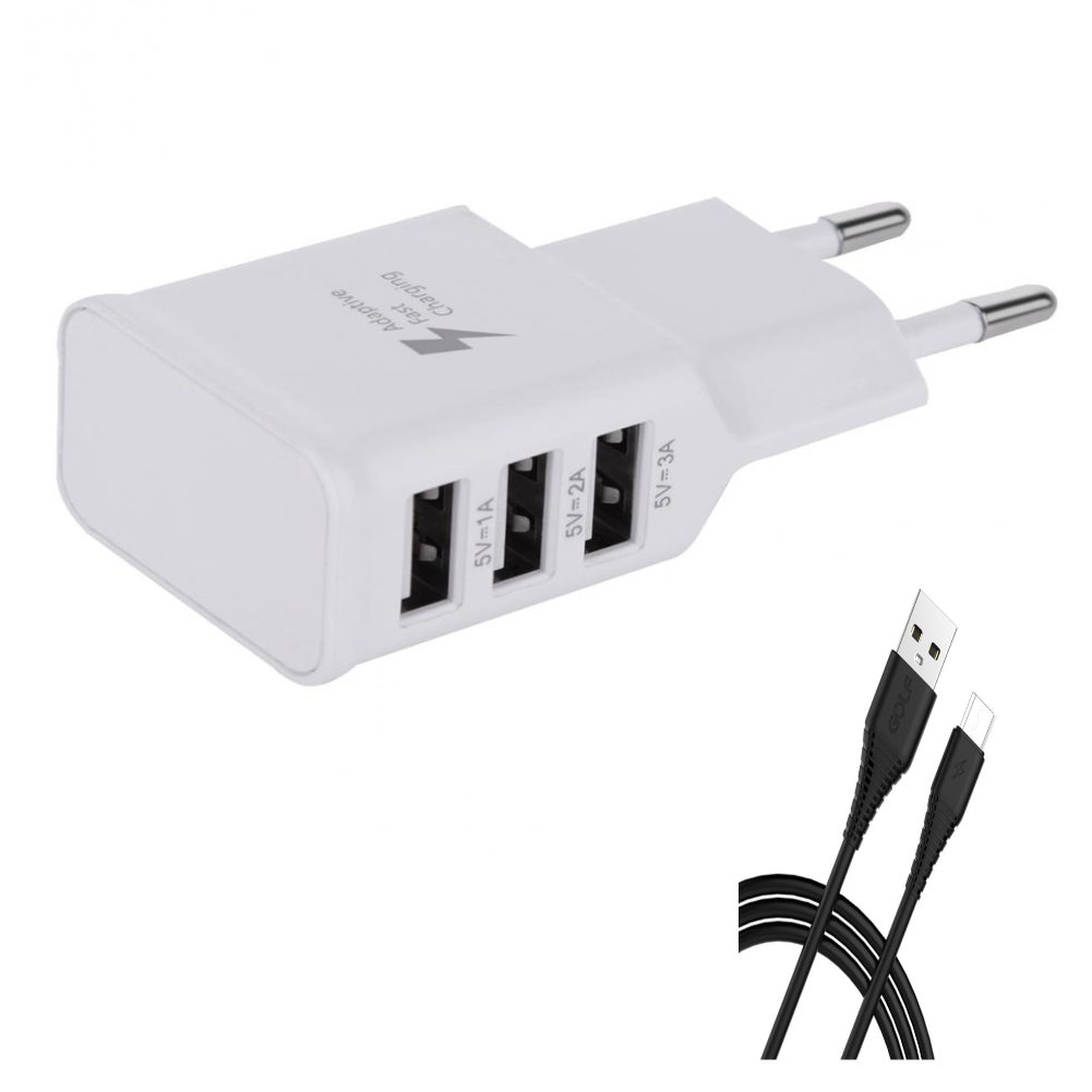 3port EU wall charger with 3A quick charging android cable