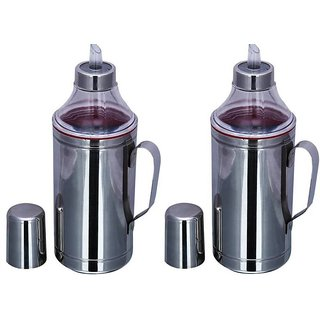 Stainless steel Set of 2 1000 ml Cooking Oil Dispenser Se ...