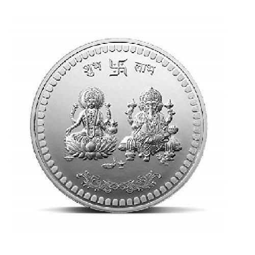 20gm silver coin laxmi ganesh coin by Ceylonmine