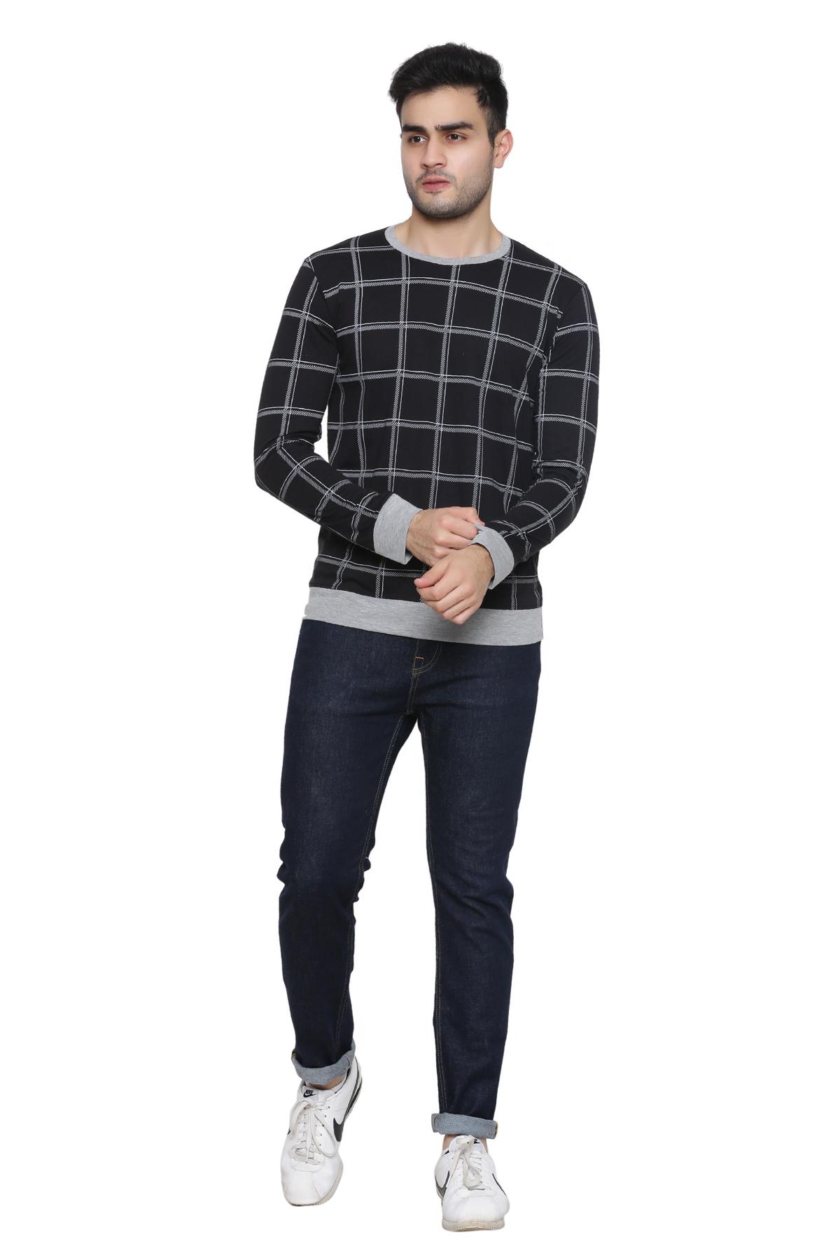 GENTINO Men's Full Sleeve Striped Black Round Neck T Shirt