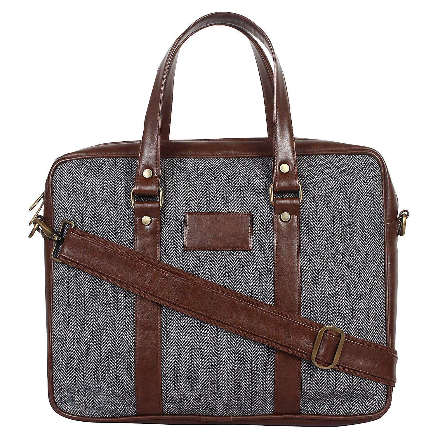 Home Story Tweed and Vegan Premium Leatherette Laptop Messenger Bag for 15.6 inch Laptops Brown Colour