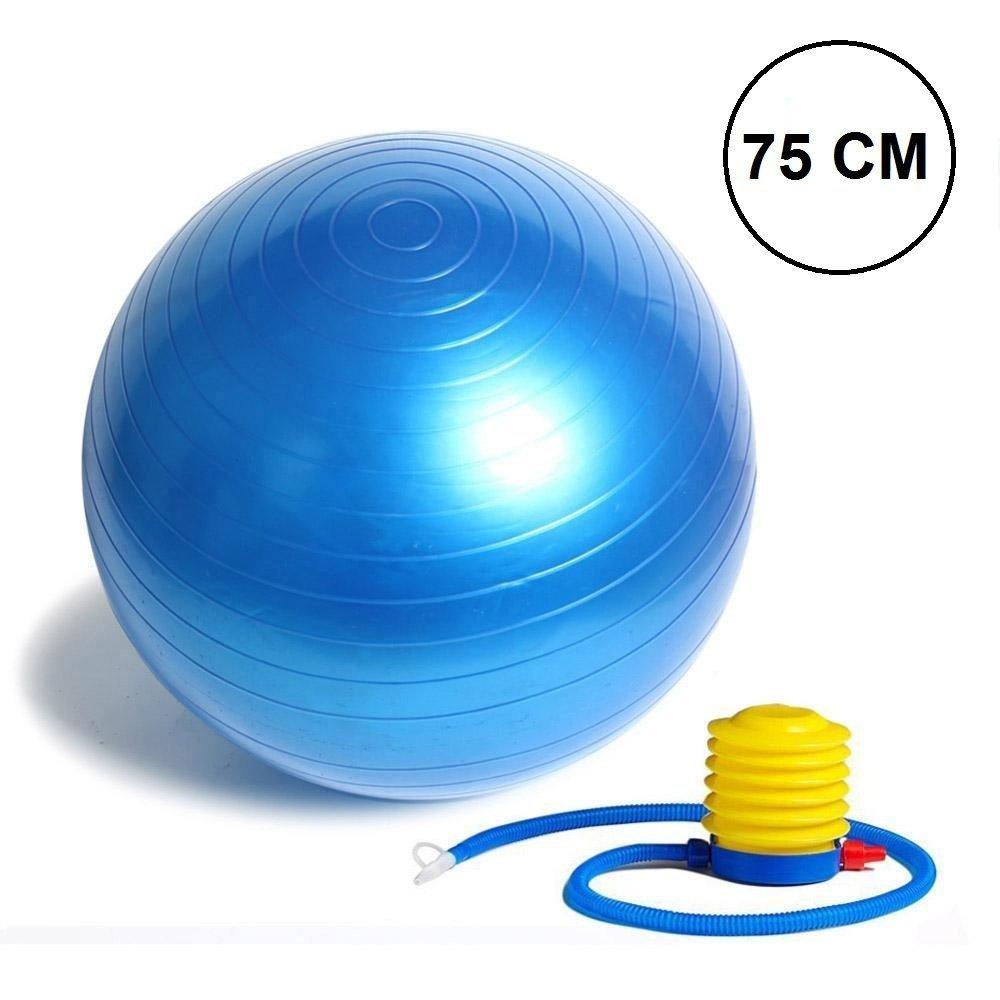 Nucleya Retail Anti Burst Gym Ball with Foot Pump, 85 Cm Multi Colour