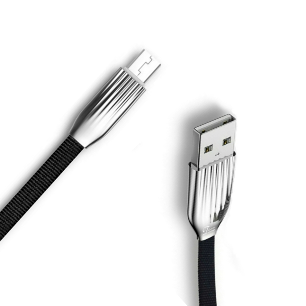 Type C Fast Charging and Sync 2.4A Rapid Charge Data Cable with LED Light  Black