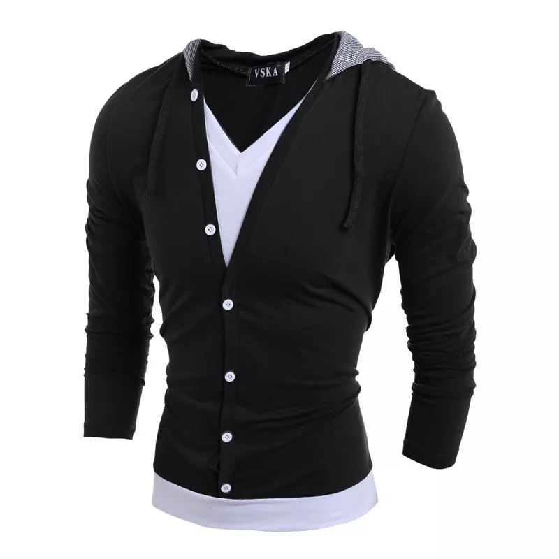 Pause Black Solid Hooded T Shirt For Men