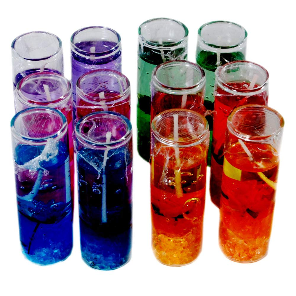 Kartik Set of 12pcs Shell Ocean Jelly Transparent Glass Pencil Candles  Small Size Without Fragrance
