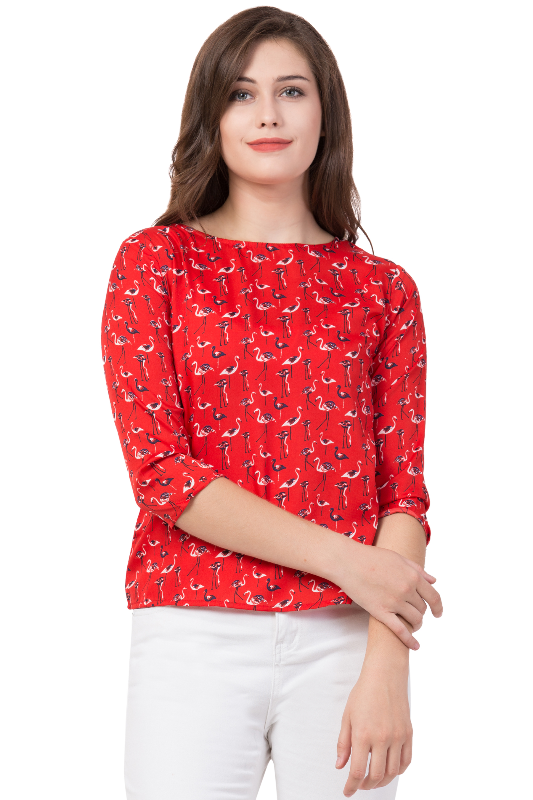 Jollify Women's Printed 3/4 sleev casual top ORANGE