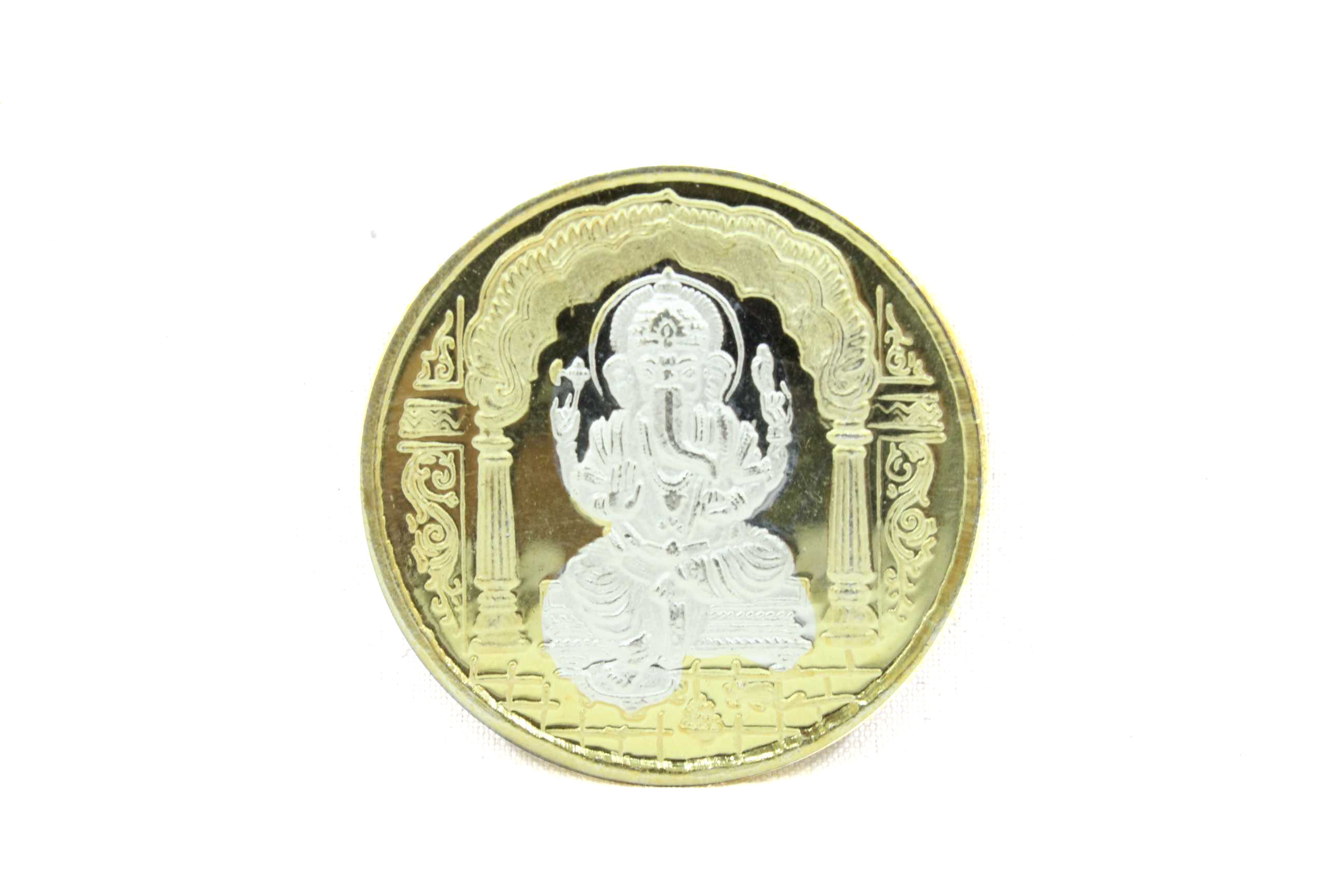 Religious 999 fine Silver Coin God Lord Ganesha Om Gold Polish with Box Gift