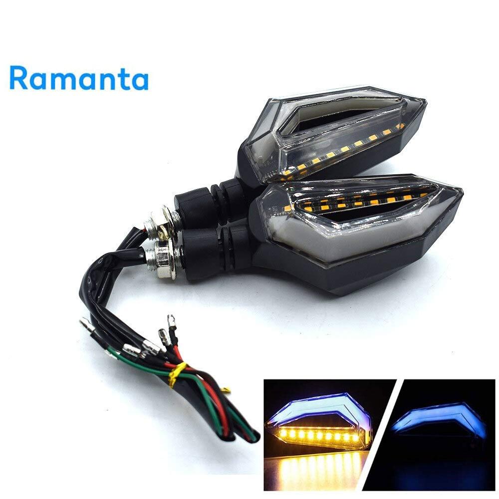 Ramanta Universal 12 LED Turn Signal Lights Blinker Front Rear Lights for Universal All Bike Models