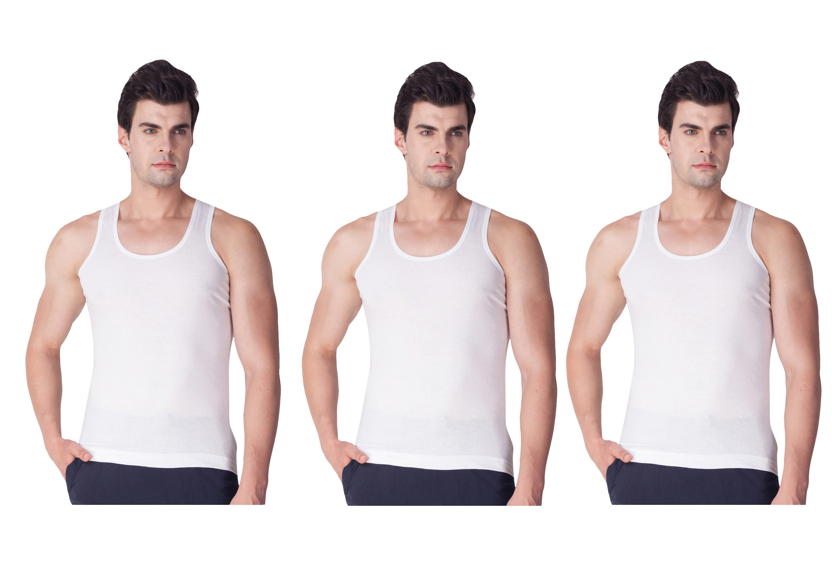 Yuva Men'S White Vest  Pack Of 3