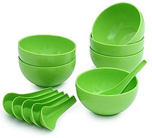 Snowpearl Plastic Round Shape Soup Bowls Set 6 Bowl And 6 Spoon, Microwave Safe For Home And Office Use  Green