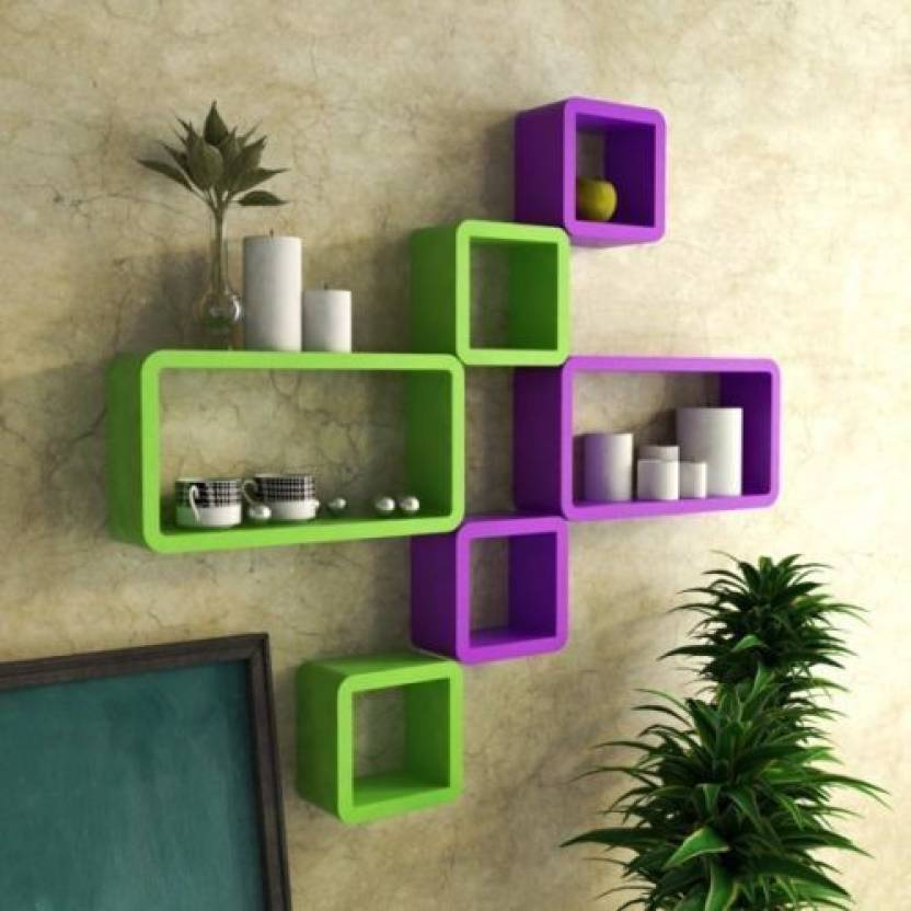 Universal Wood Handicrafts Cube Shape Wall Shelves Set Of 6 Modern Rectangle Mdf Wall Shelf