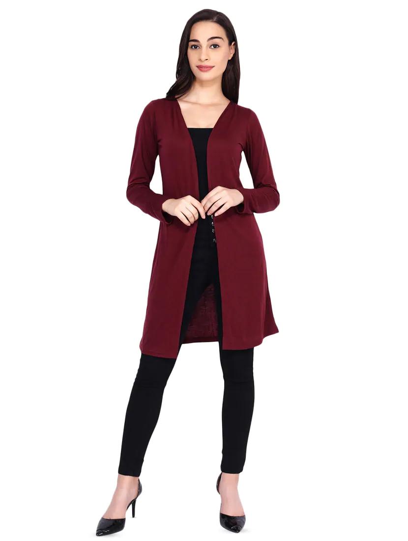 Vivient Women Red Full Sleeve Long Shrug