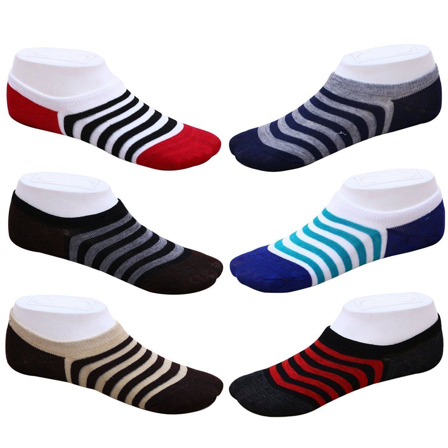Dlt Men\'s Loafer Socks No Show Socks Striped Socks  Pack Of 6