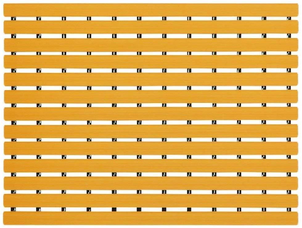 Casa Nest Casa Nest Naxan Fabsouk Pvc Shower Mat  17 Inch X 24 Inch , Saffron Yellow,Anti Slip Bathroom Mat