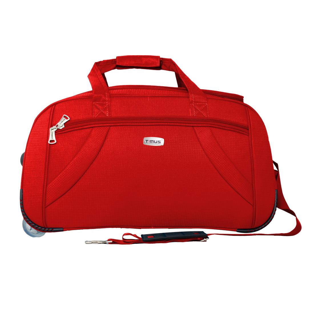 Timus Club Mumbai 65CM Red 2 Wheel Duffle Trolley Bag for Travel  Check In Luggage