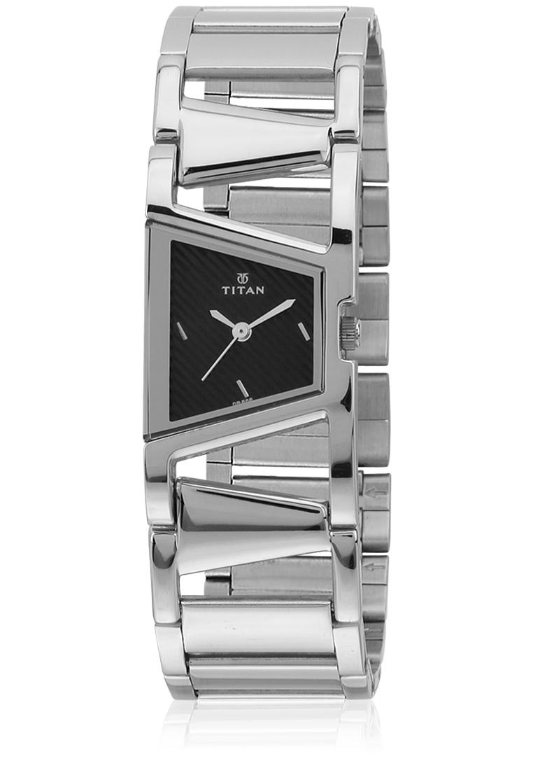 Titan Women Black Dial Silver Stainless Steel Analog Watch