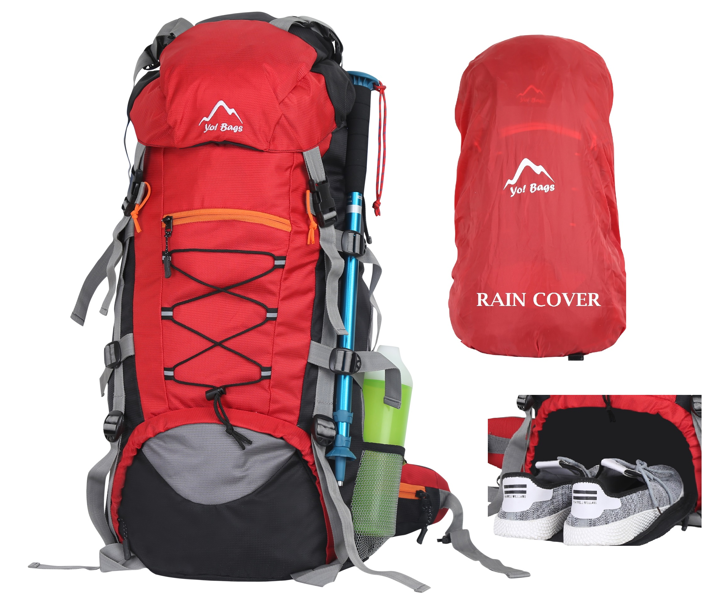 Bags Hiking Bag in Rucksack 65 ltr Travel Backpack for Adventure Camping Trekking Bag with Rain Cover  Red by YOI