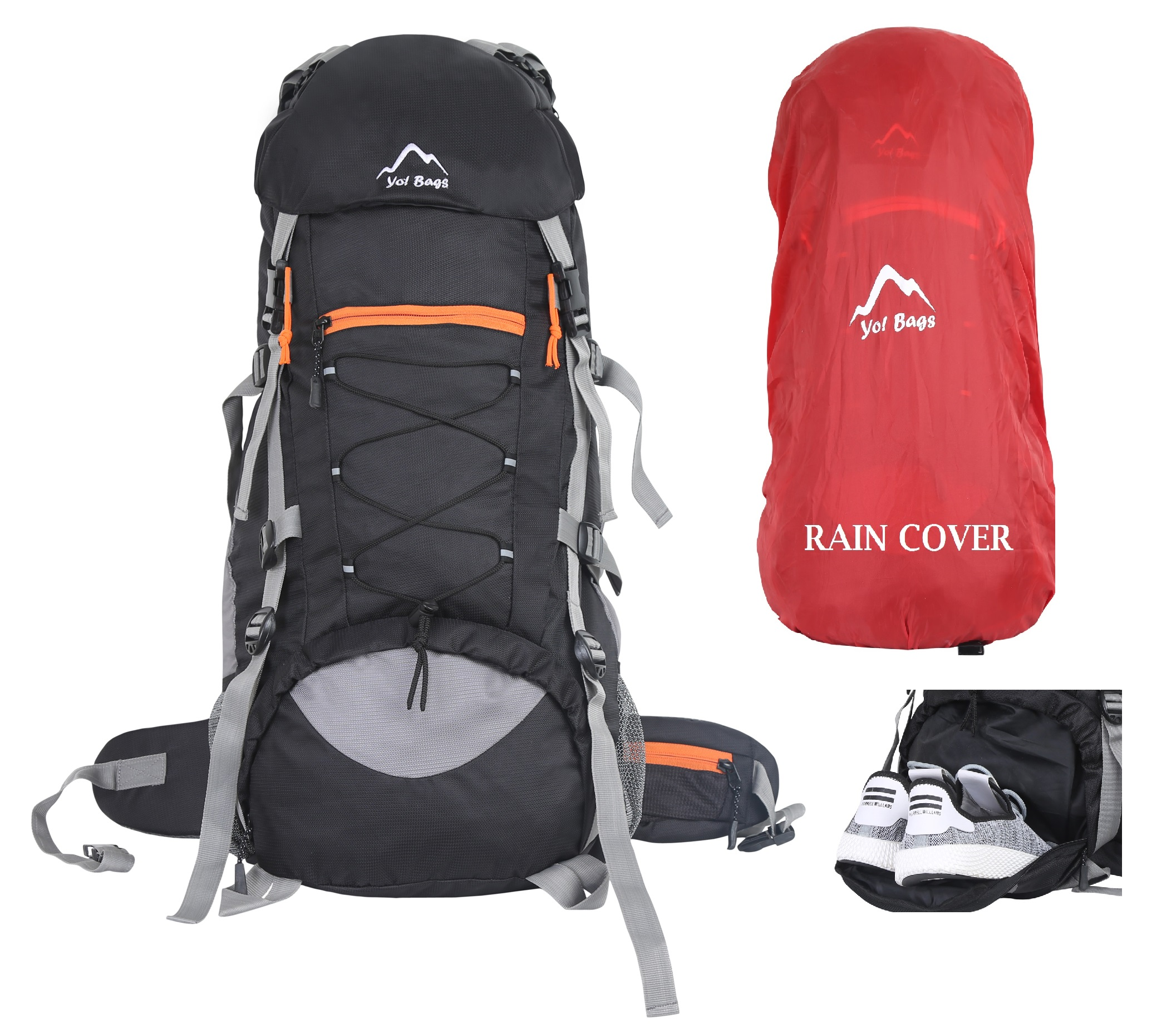 Bags Hiking Bag in Rucksack 65 ltr Travel Backpack for Adventure Camping Trekking Bag with Rain Cover  Black by YOI