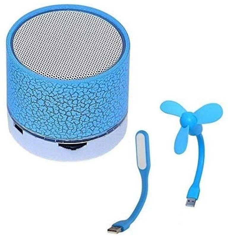 CALICOVILLA Wireless LED Bluetooth Speakers S10 with USB Fan and Flexible USB LED Light Lamp multicolor