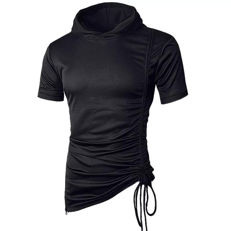 Pause Black Solid Round Neck Slim Fit Short Sleeve Men T Shirt