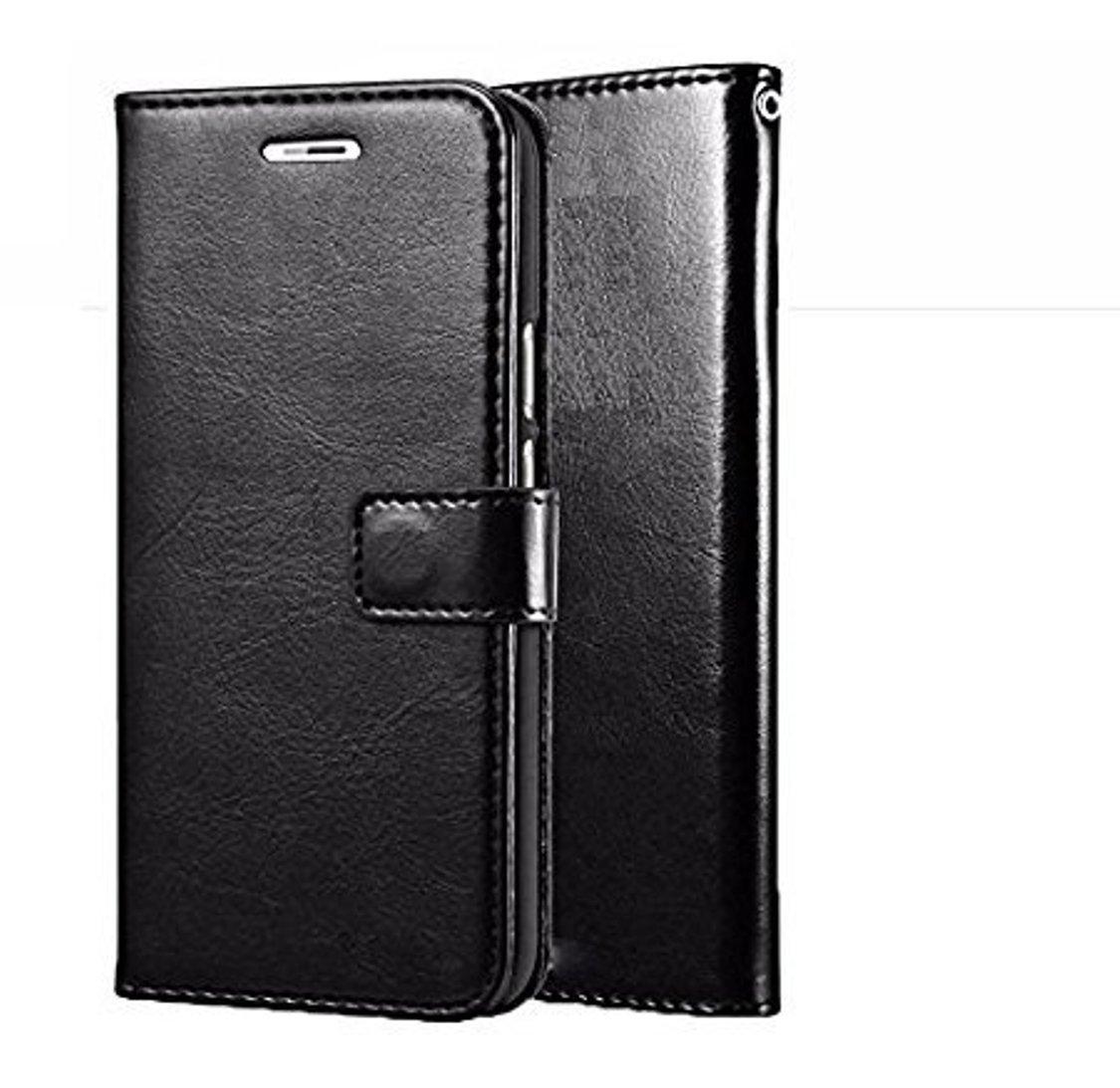 D G Kases Vintage Pu Leather Kickstand Wallet Flip Case Cover For Samsung Galaxy J7 Prime   Black