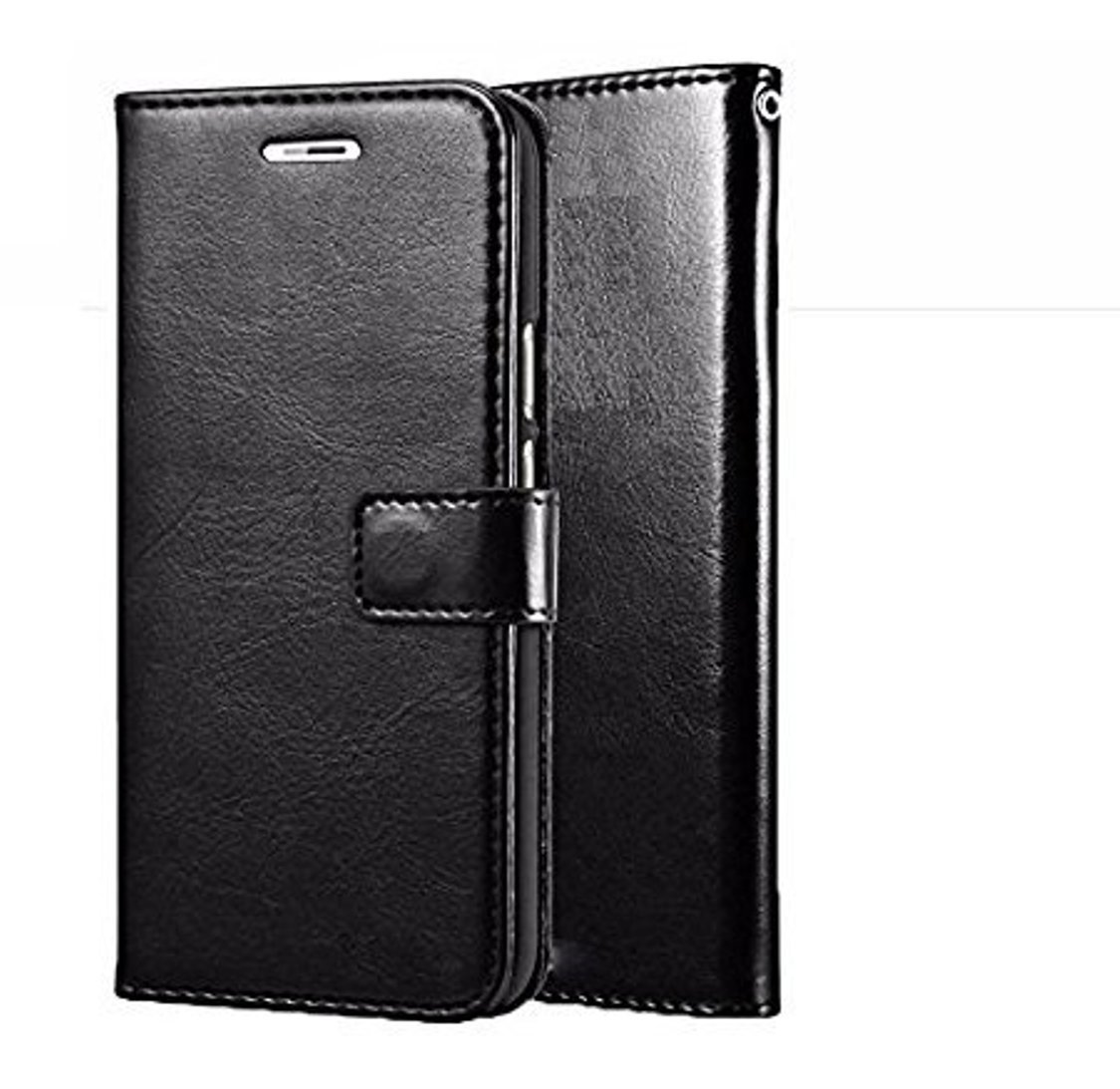 D G Kases Vintage Pu Leather Kickstand Wallet Flip Case Cover For Micromax Infinity   Black