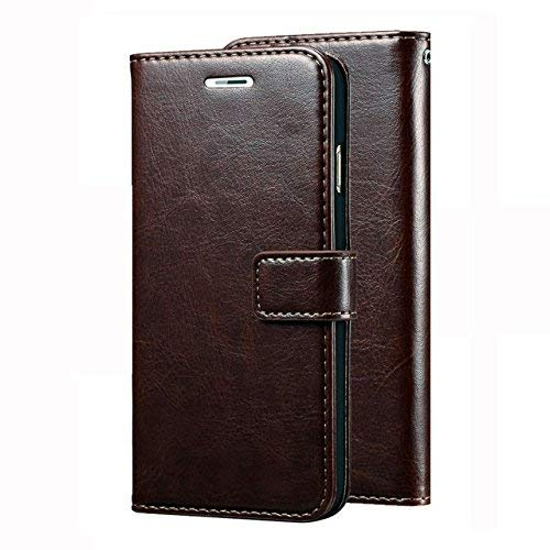 D G Kases Vintage Pu Leather Kickstand Wallet Flip Case Cover For Samsung Galaxy A6 2018   Coffee Brown