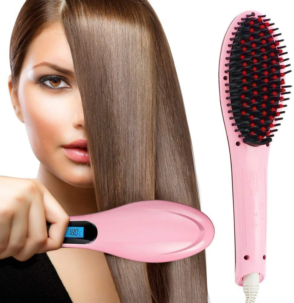 Trendy Trotters Hair Straightener Brush   Hair Straightener   Hqt 906, Pink