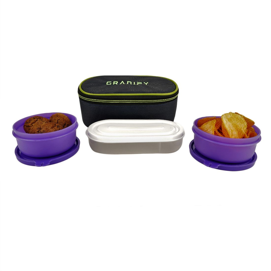 Granify Lunch Box   2 Containers With Bag Cover   1 Chapati Try   B