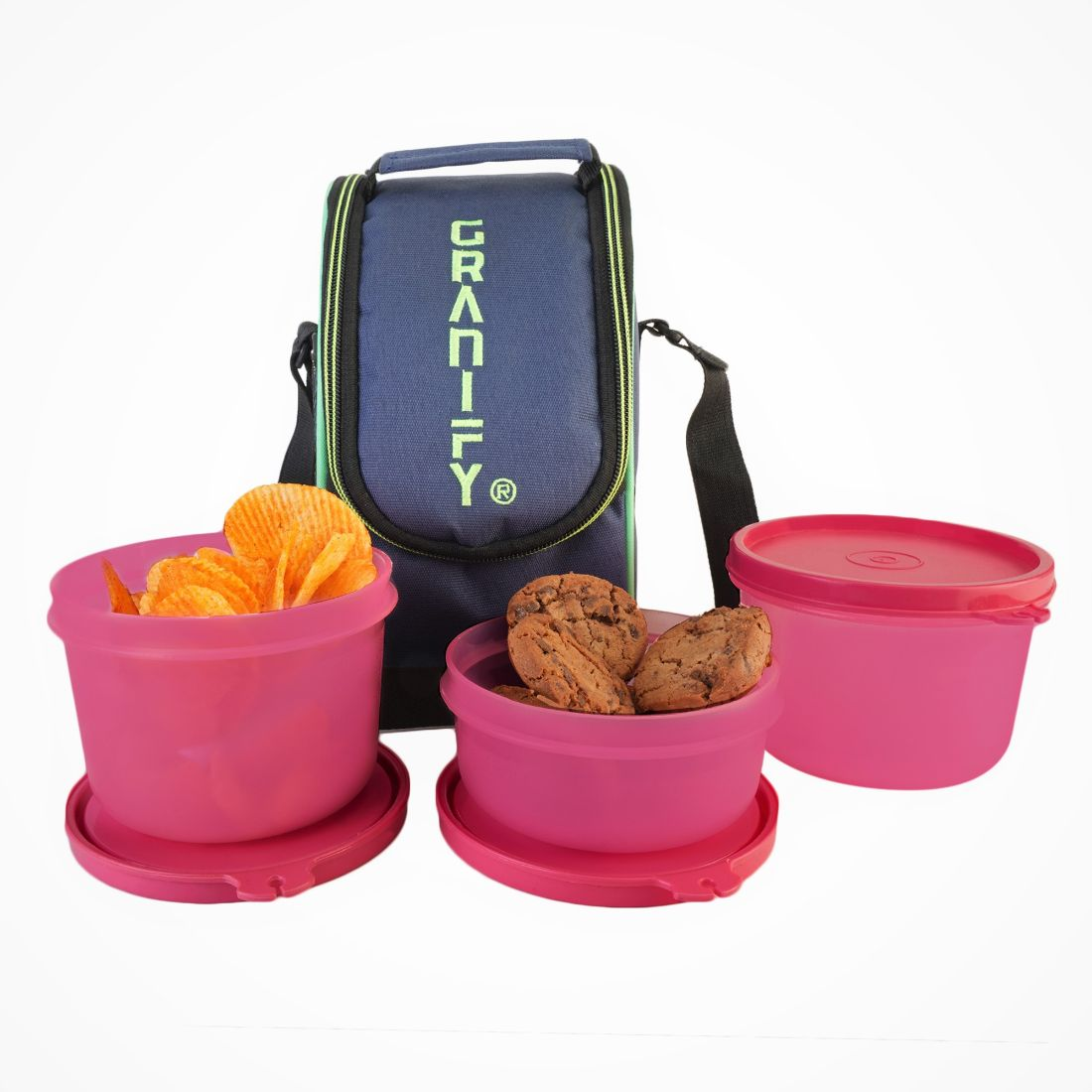 GRANIFY Lunch Box   3 Containers With Bag Cover   D