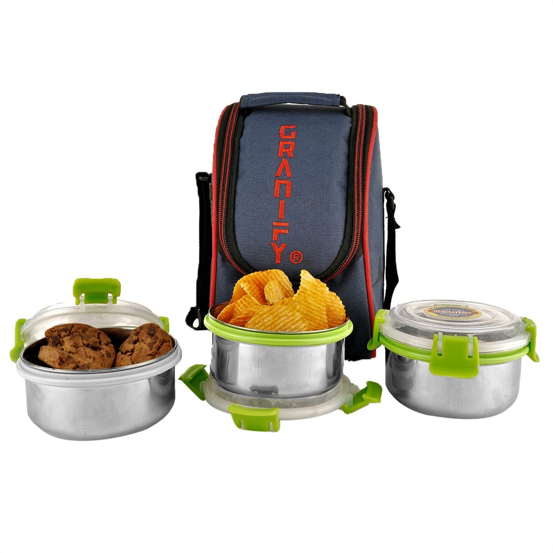 GRANIFY Lunch Box   3 Steel Containers With Bag Cover   G