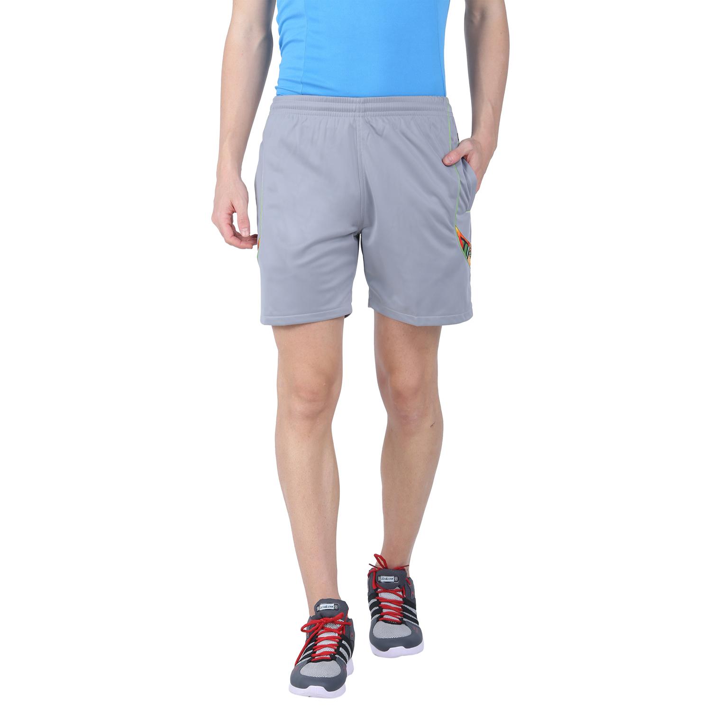 EDEN SPORTS Men's Light Grey Polyester Solid Shorts