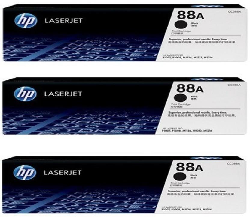 HP 88A Pack Of 3 Black Toner Cartridge Single Color Toner  Black