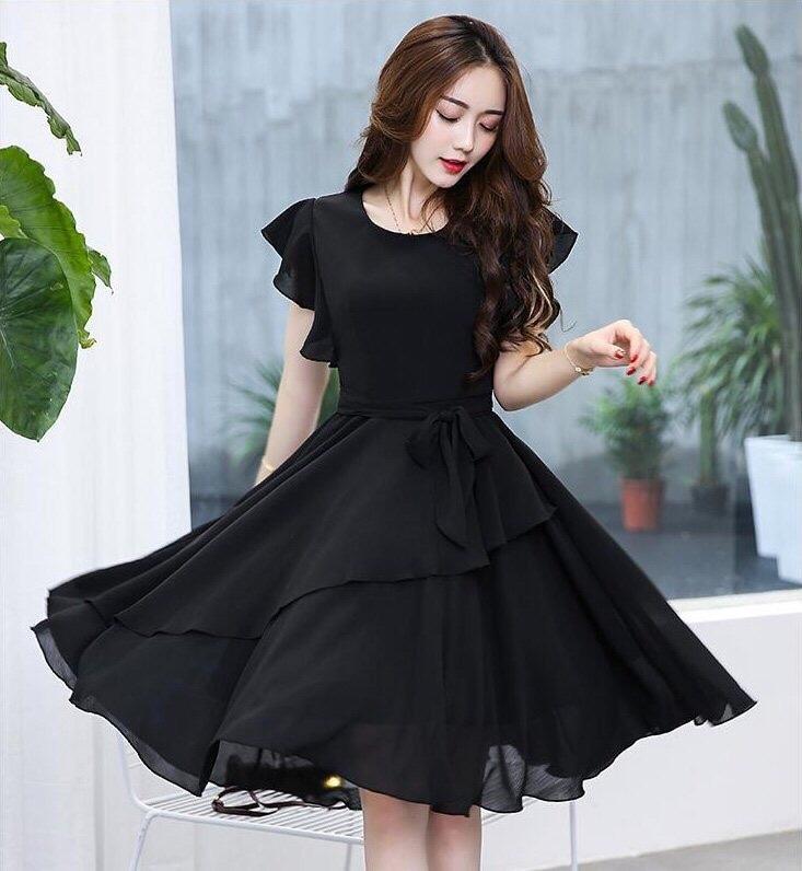 Vivient Women Black Solid Flair Georgette Short A Line Dress