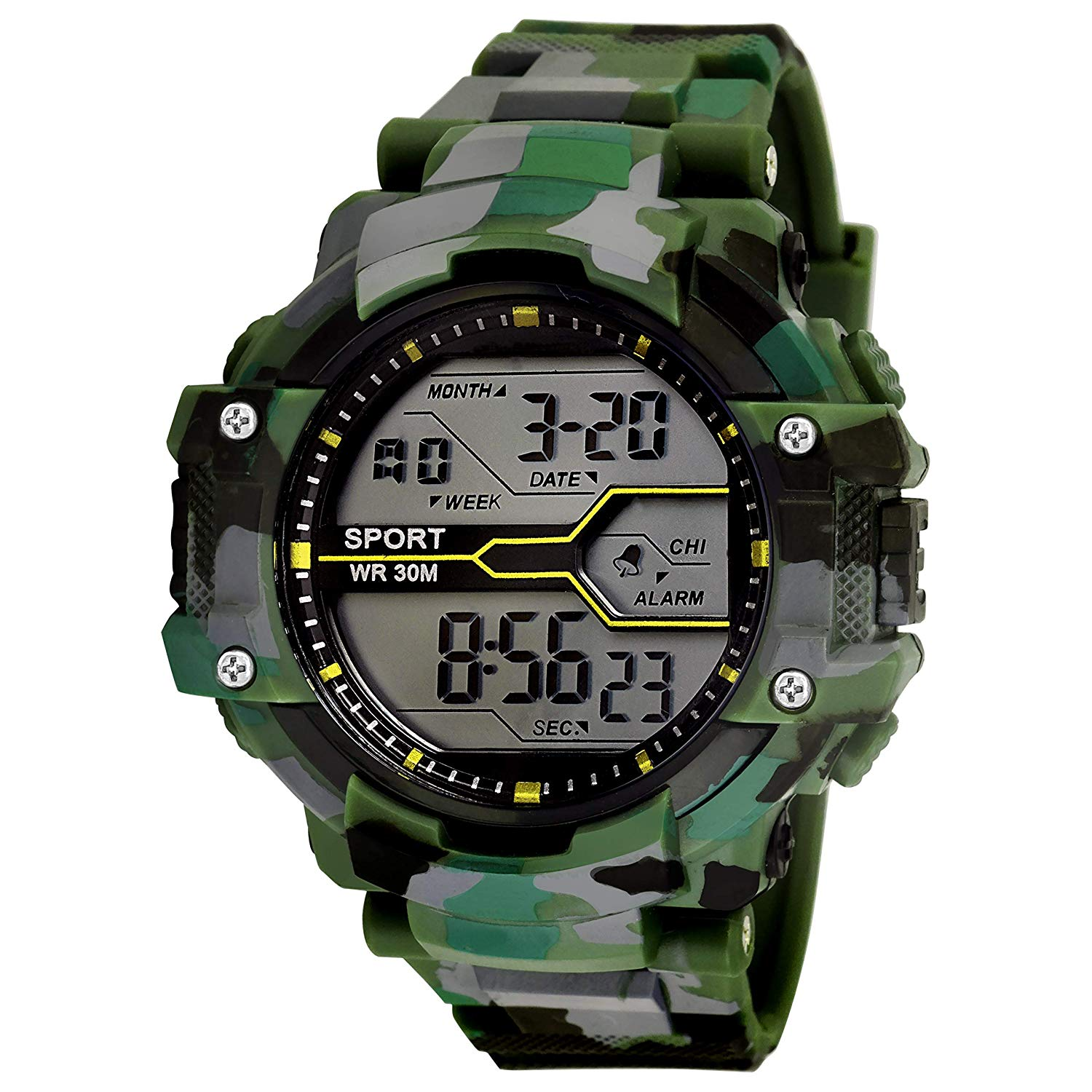 Lorenz Digital Multicolor Dial   Army Camouflage Green Strap Sports Watch for Men's   Boys | 3036 DG