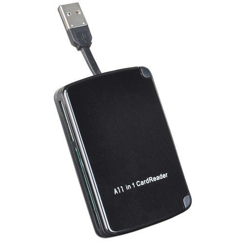 10 in 1 Portable USB 2.0 Card Reader Writer with Built in Storage for 9 Memory Cards