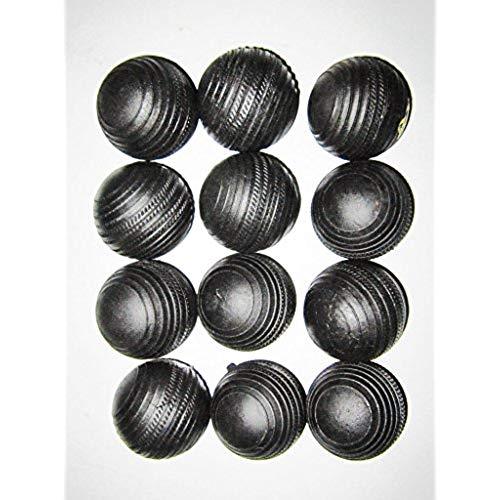 Arnav Rubber Black Cricket Ball   Size: Standard, Diameter: 6 cm Pack of 12, Black