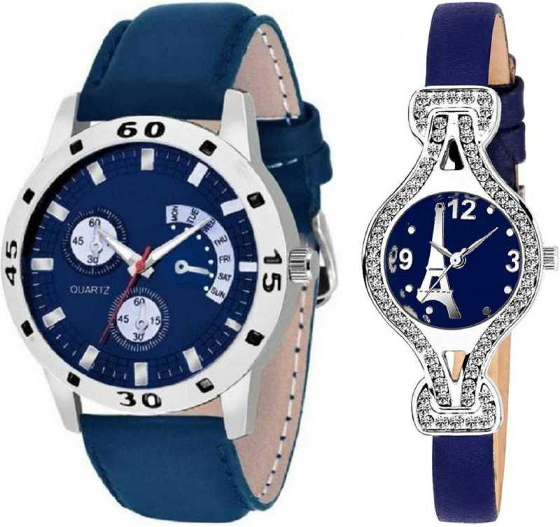 Men Women Couple Blue Analog Watch   For Couple