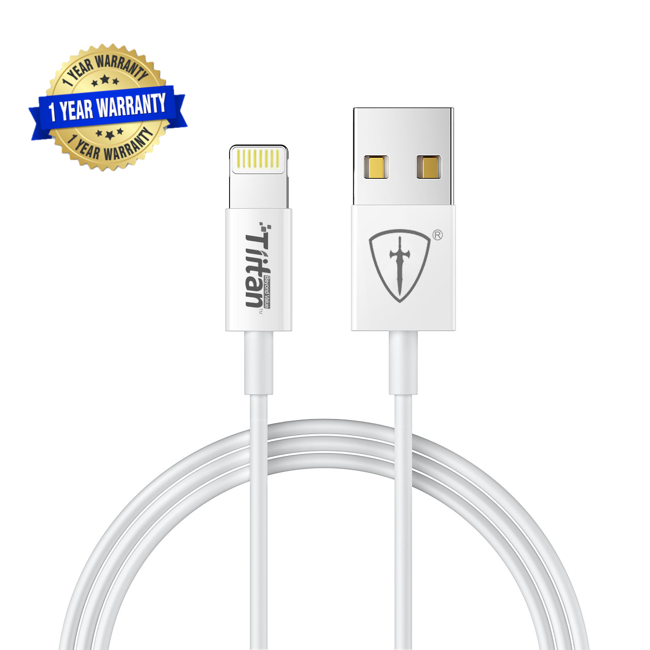 TIITAN MFi Certified Lightning to USB Charge and Sync Tough Cable, 6.56 Feet  2 Meters    White