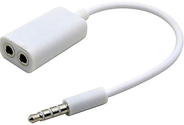 Pack Of 10 Audio splitter cable 3.5mm Male To 2 X 3.5Mm Female Earphone Splitter Cable Adapter White/Black