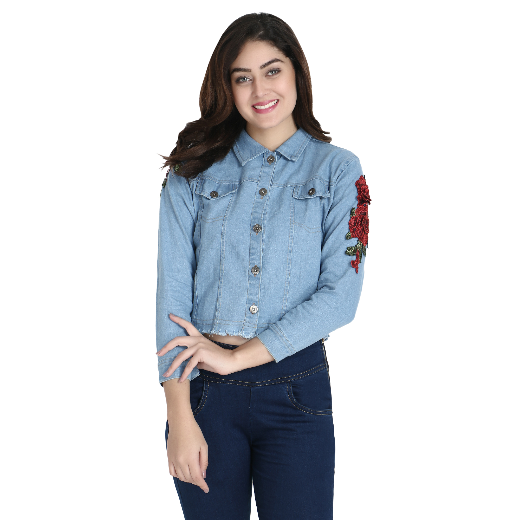 BuyNewTrend Light Blue Full Sleeve Rose Patch Denim Jacket For Women  Light Blue 2154B