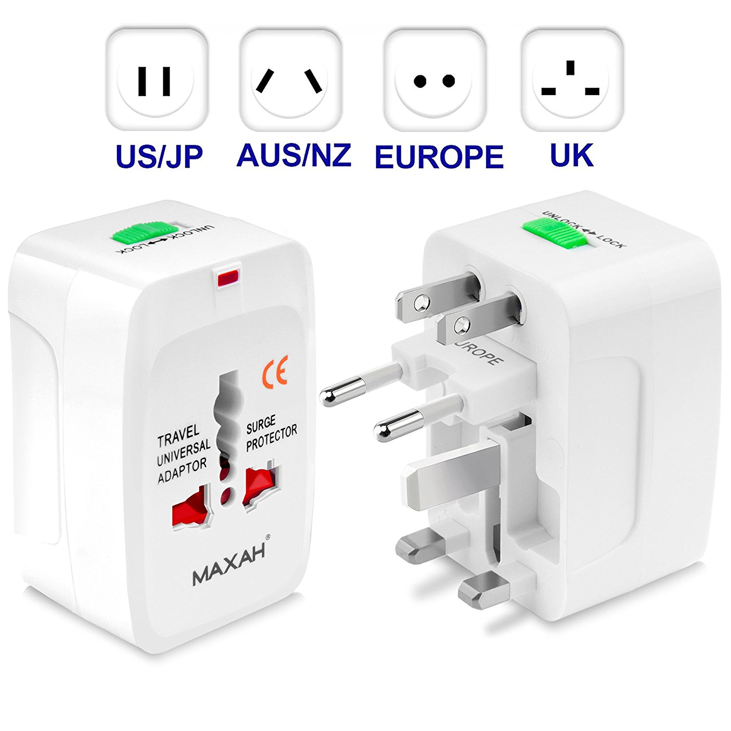 Mettle Universal Travel Plug Adaptor, All in One Worldwide Universal Wall Charger AC Power Plug for EU US UK AU   White